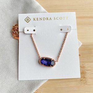 Kendra Scott Elisa Rose Gold navy dusted Necklace